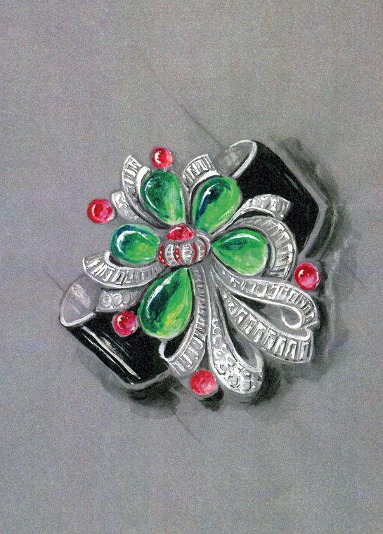 :: Dessin du bracelet-broche créé spécialement pour la duchesse de Windsor en 1937. Il est serti d'émeraudes, de rubis et de diamants. Le motif est posé sur un bandeau d'or laqué de noir ::