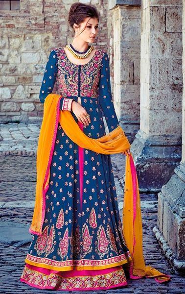 Impressive Navy Blue and Pink Designer Lehenga Kameez Set