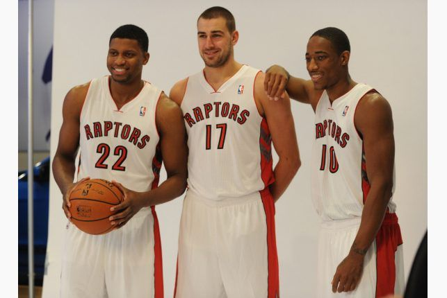 Rudy Gay, Jonas Valanciunas and DeMar DeRozan