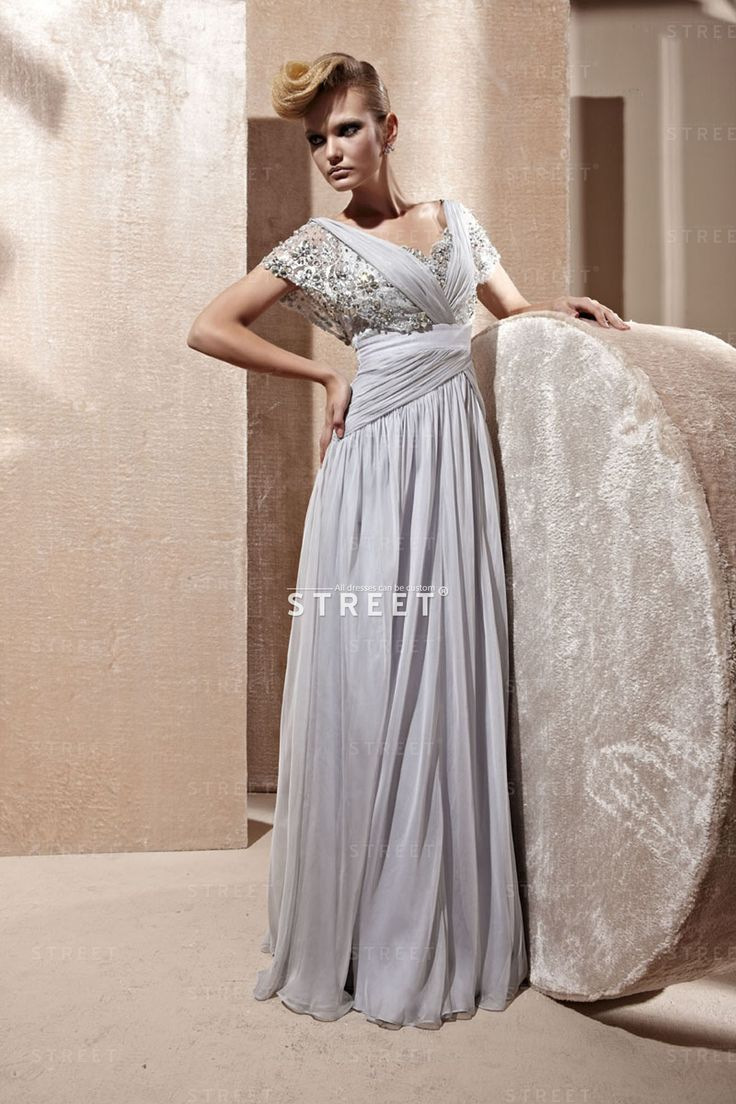 Grey V Neck Chiffon Empire Waist Short Sleeve Long Tight Prom Dress. #grey #chiffon #short #fashion