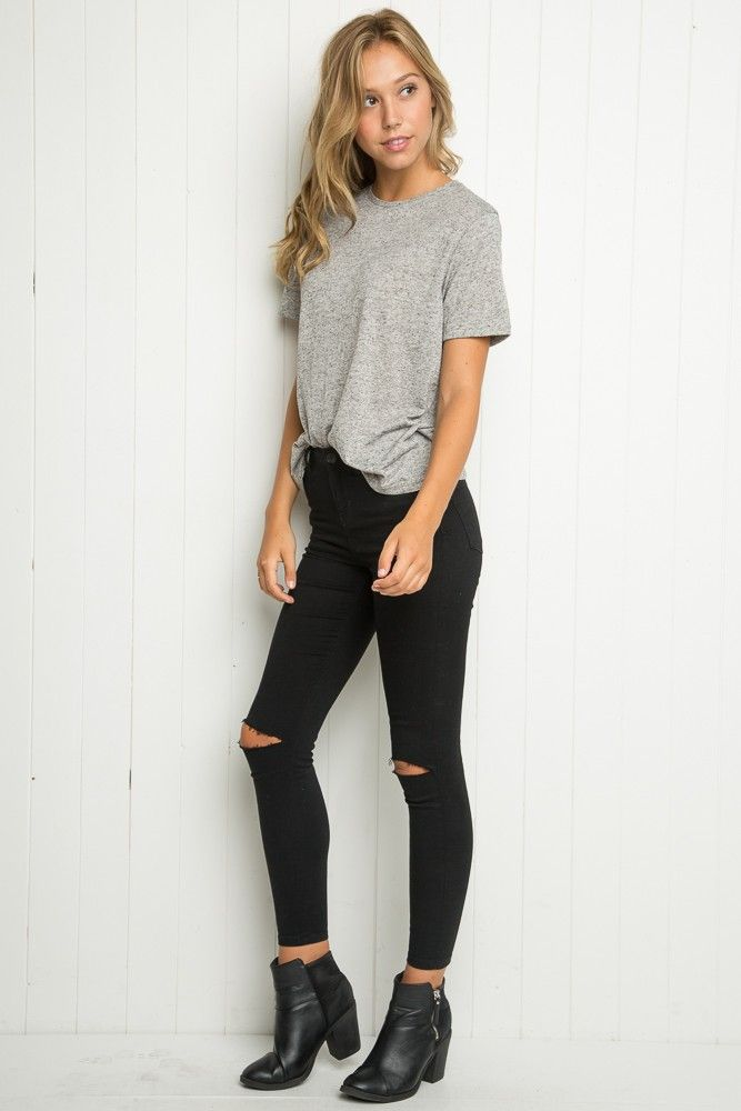 Best 25  Ripped Black Skinny Jeans ideas on Pinterest | Black ...
