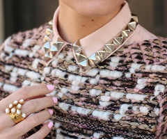 Pink #Studded Collar. Love so much!: Studs, Studded Collar, Fashion, Inspiration, Style, Collars, Pink, Diy