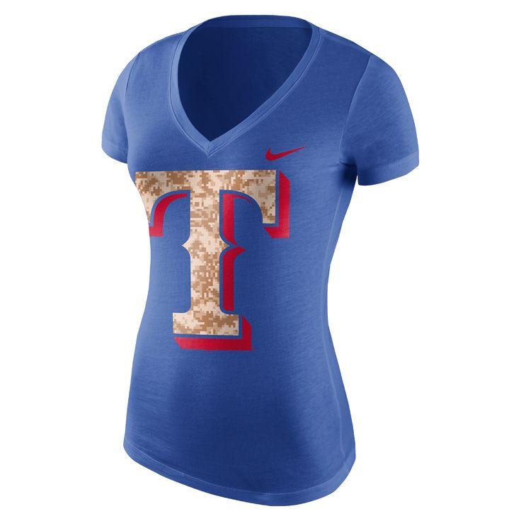Nike Patriot Pack (MLB Rangers) Women's T-Shirt Size Medium (Blue) - Clearance Sale