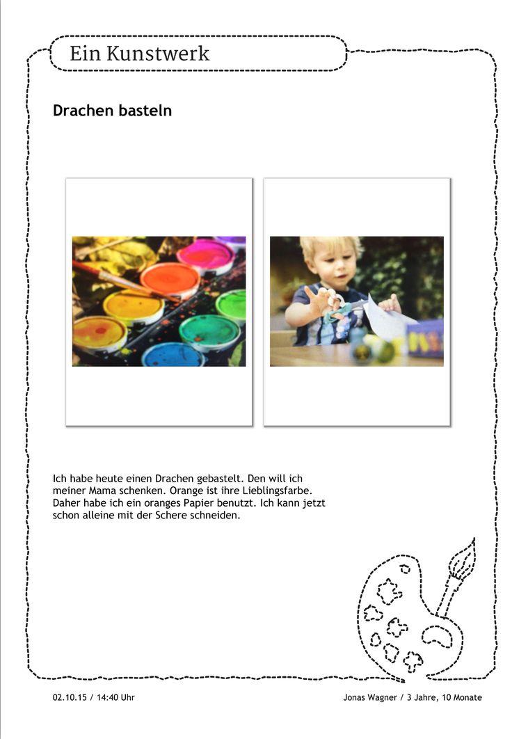Ein wahres Kunstwerk hat Jonas da gebastelt. Einen Drachen für die Mama. Den schenkt er ihr. Und damit seine Aktivitäten auch später noch sichtbar sind, kommen seine Fotos in den Portfolio-Ordner.  https://stepfolio.de/ #Portfolioeintrag #Portfolio #Kinder #Kindergarten #KitaApp #stepfolio #Drachen #Basteln #DIY