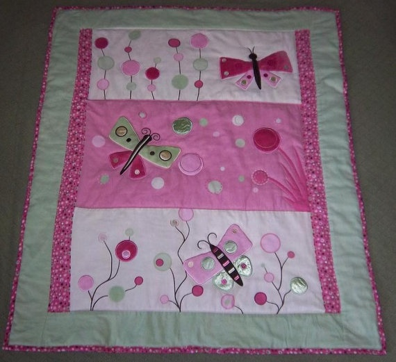 Butterfly Baby Quilt  Pink/Green  Very by nelliebelliebabyshop, $64.99