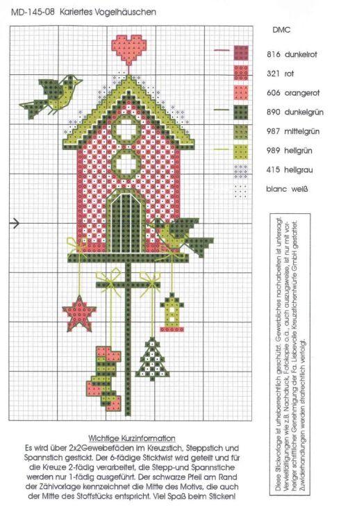 Borduurpatroon - kerst, vogelhuis