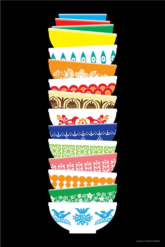 Vintage Pyrex Poster - also comes in blue and grey backgrounds. I LOVE this.