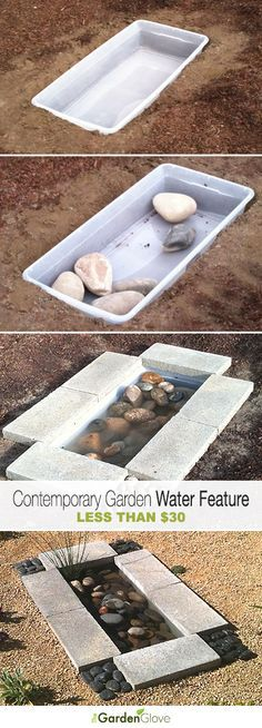 DIY Project • Contemporary Garden Water Feature Less than $30 • Simple Tutorial! Would probably be a good idea to add a wiggler to the water to keep mosquitoes out of it