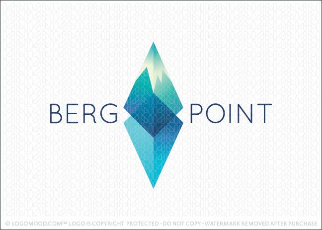 Logo for sale: Clean, sleek and modern iceberg mountain logo design. Simple 3D triangular elements create a tall mountain landmark with the bottom portion representing the lower half of the mountain/iceberg submerged in the cold ice ocean water.