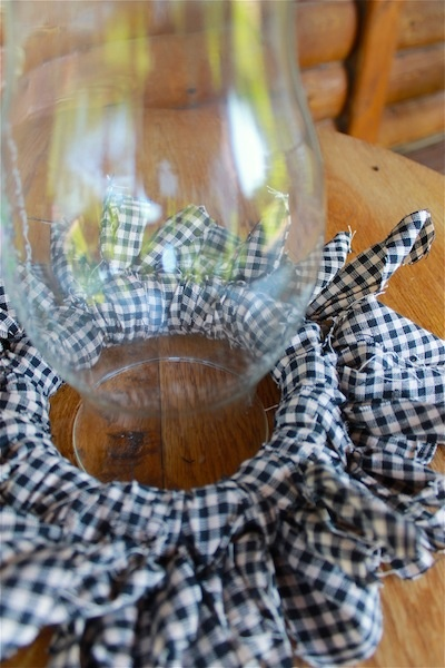 Black and White Check Candle/Hurricane Lamp Ring