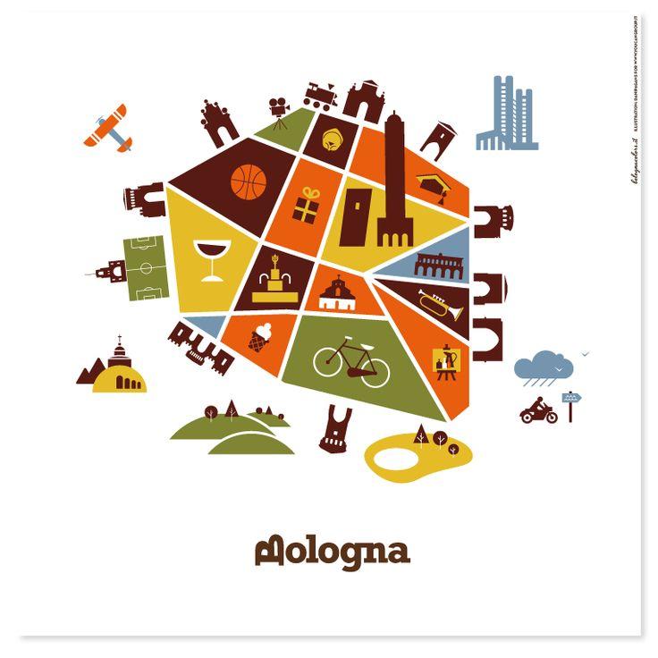 """Bologna mappa stilizzato """"cosa vedere""""   Italia - Mappe   Pinterest"""