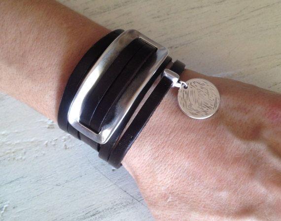 Womens leather stripes silver cuff,silver statement leather cuff,wrap leather bracelet,uno de 50 style bracelet,silver tag leather bracelet,