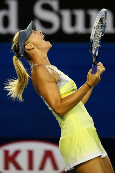 Maria Sharapova after beating Venus Williams, Australian Open 2013. This match is why I have her winning the whole thing.