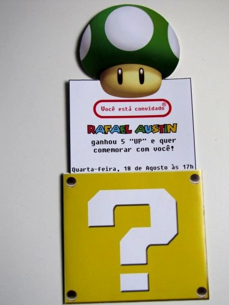 Nana Papel Criativo: Convite Super Mario Bros