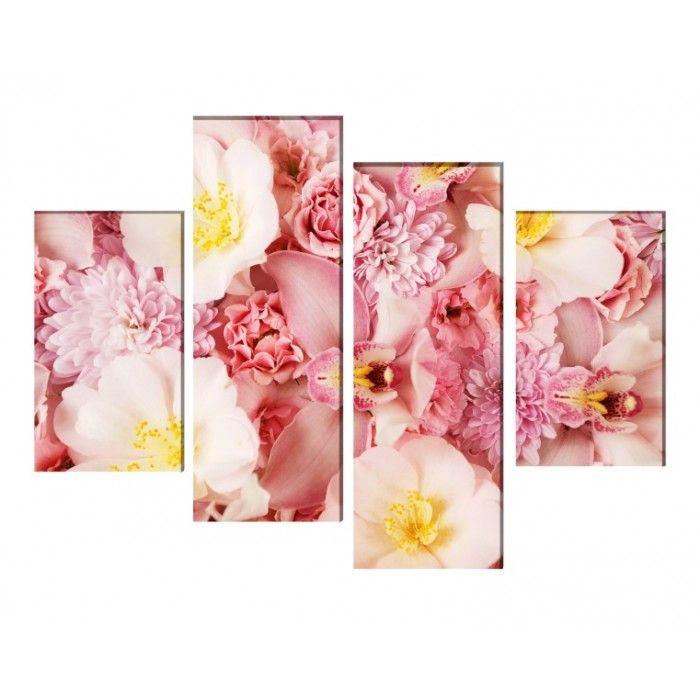 Multicanvas pat de flori si orhidee mdfl116