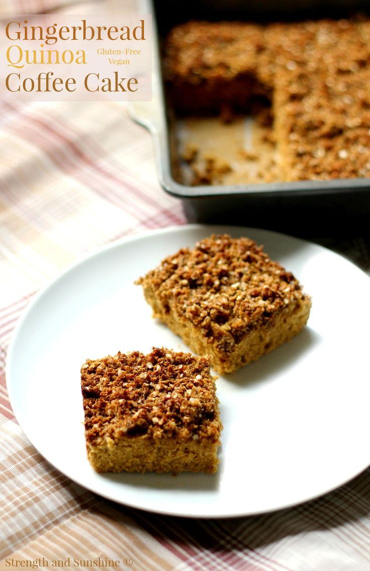 Get cozy with some coffee and a slice of this gingerbread quinoa coffee cake! A warm holiday flavor with the protein of quinoa, this healthy coffee cake is perfect for a winter breakfast or a weekend brunch! - vegan and gluten free