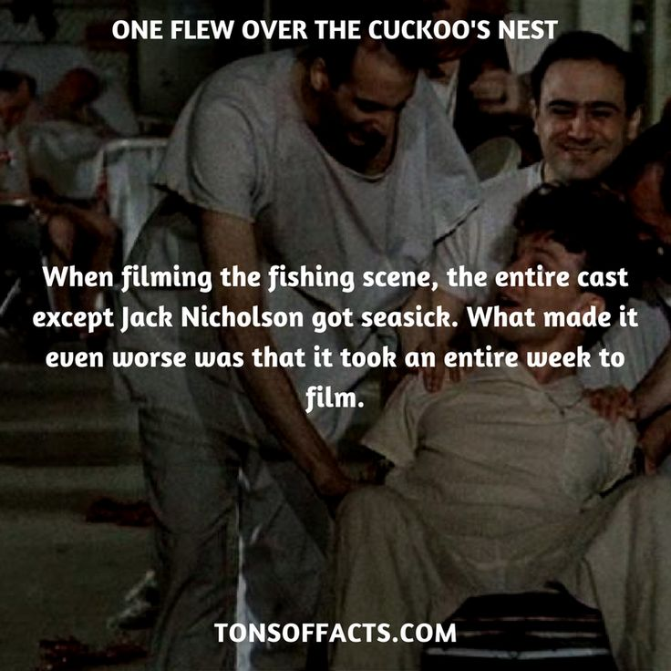When filming the fishing scene, the entire cast except Jack Nicholson got seasick. What made it even worse was that it took an entire week to film. #oneflewoverthecuckoosnest #movies #interesting #facts #fact #trivia #awesome #amazing #1 #memes #moviefacts #movietrivia #oneflewoverthecuckoosnestfacts #oneflewoverthecuckoosnesttrivia