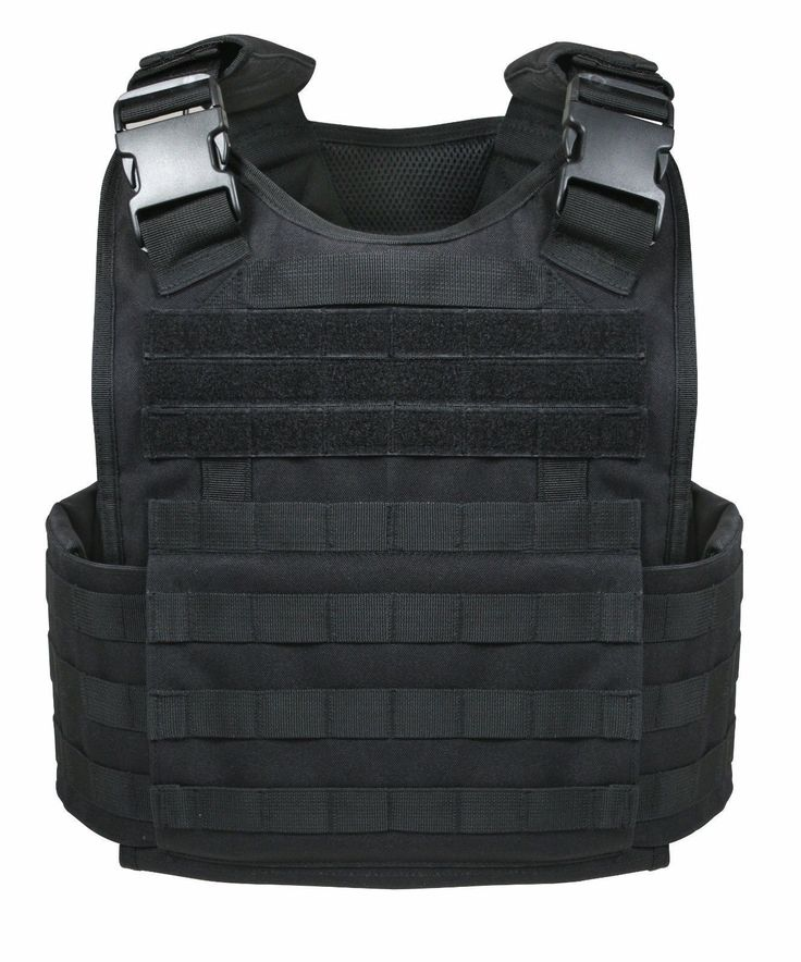 Rothco MOLLE Tactical Plate Carrier Vest - Black or Coyote - Adjustable Shoulder Straps with Detachable Pads - MOLLE Compatible Webbing Covers most of Vest - Internal Sleeves for Soft Armor and Plate