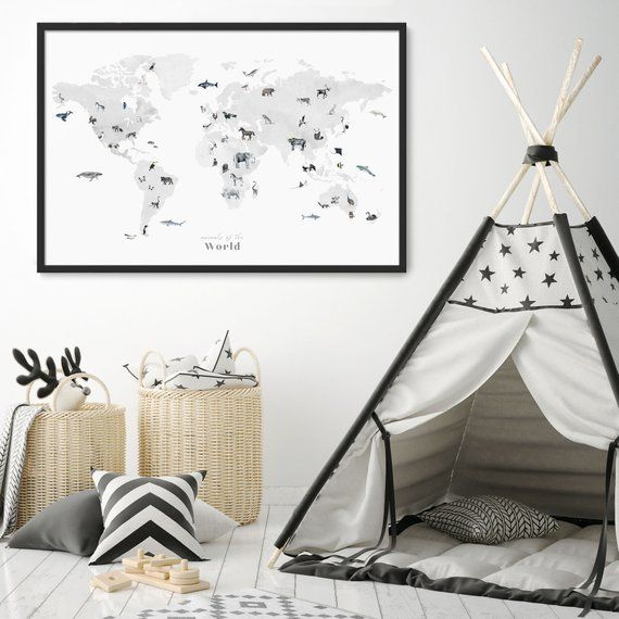 Black And White World Map Framed.Black White Animals World Map Framed Wall Art Nursery Decor