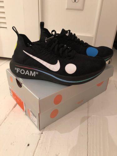 d234b0a7c146 Nike Off-White Zoom Fly Mercurial FK Black Volt Virgil Abloh AO2115 001  Size 9