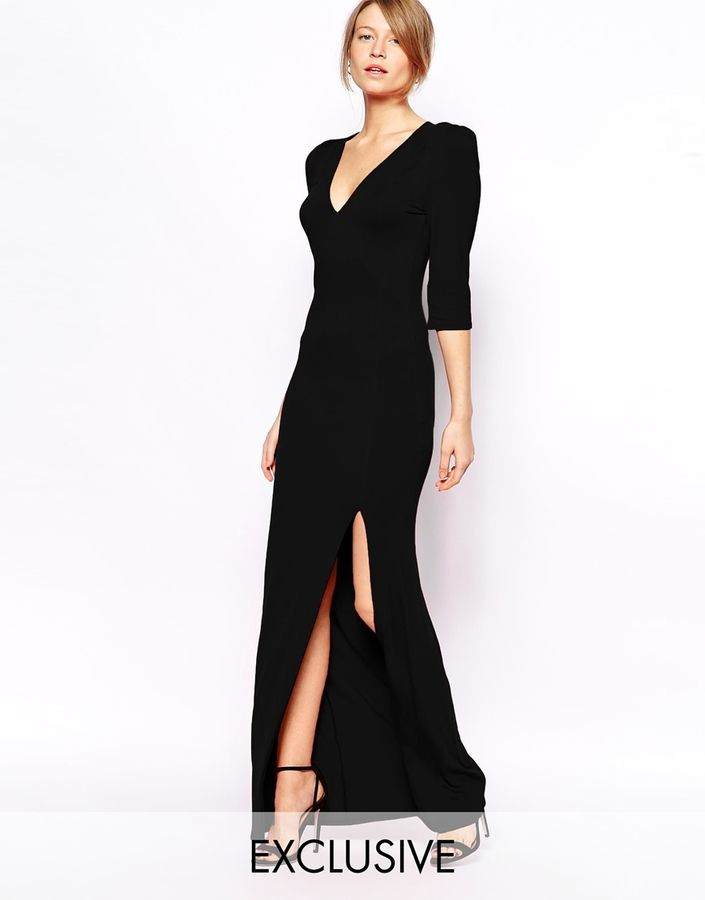 sophisticated and sleek, back dress, casual chic Love Jersey Maxi Dress with Plunge Neck and Thigh Split