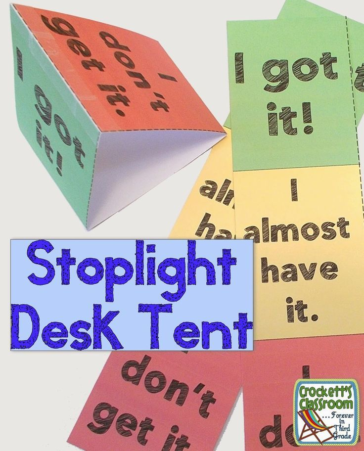 Stoplight desk tent to show student learning ---Crockett's Classroom