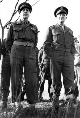 Lieutenant General Henry Crerar, commander of the 1st Canadian Army (left) and General Dwight Eisenhower, Supreme Commander of the Allied Expeditionary Force in Europe; 1944-1945.