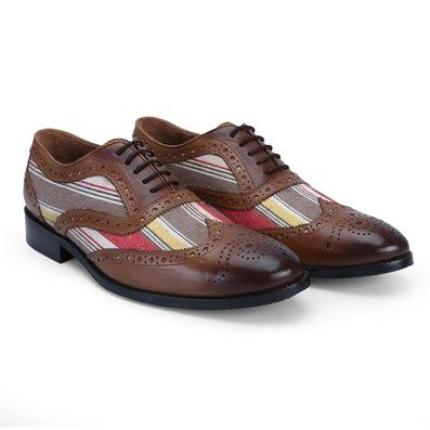 Buy Tan Burnished Leather Combination With Multi-Colour Canvas #Brogue #Shoes By Brune at Best Low Price @ #voganow