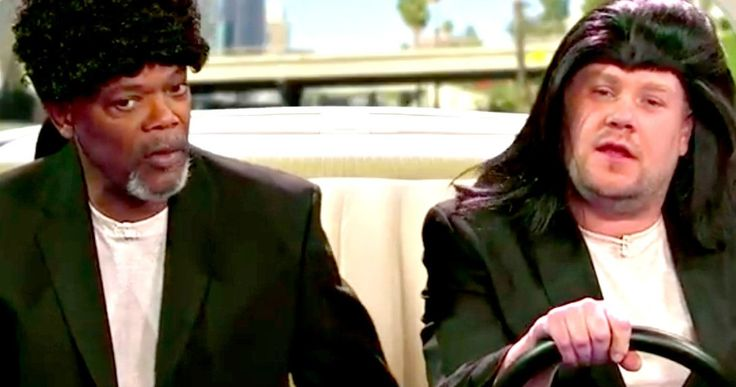 Watch Samuel L. Jackson Revive His Pulp Fiction & Jurassic Park Characters -- Samuel L. Jackson and James Corden recreate two iconic scenes from Pulp Fiction, along with other roles in the actor's celebrated career. -- http://movieweb.com/samuel-l-jackson-movie-characters-video-james-corden/