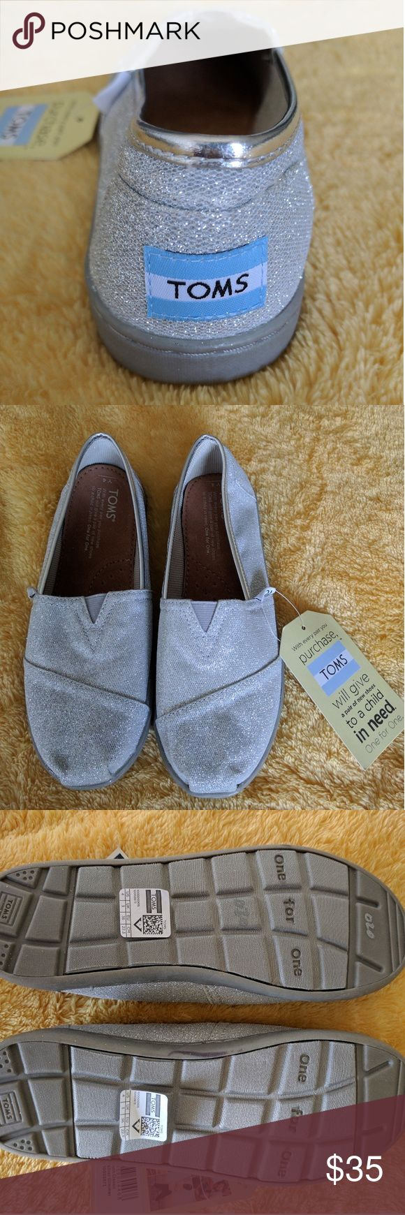 Silver Tom's Silver kids Tom's TOMS Shoes
