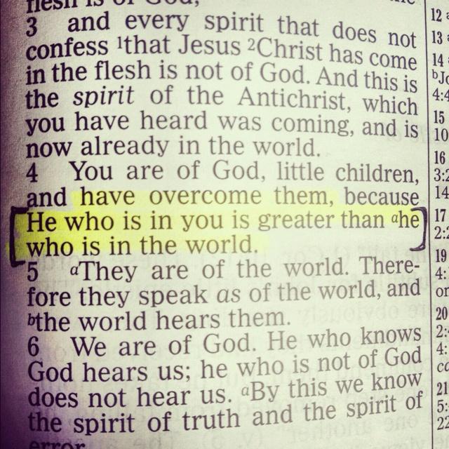 1 John 4:4. Thankful