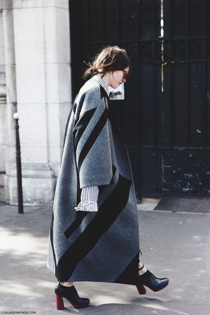 streetstyle, oversized coats, patterns, grey, statement sleeves, winter dressing