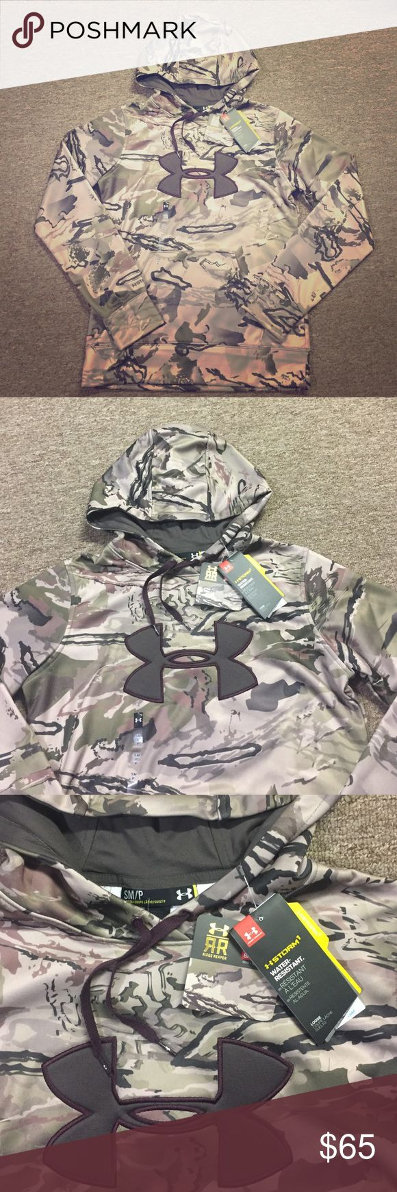 """Under Armour Camo Hoodie Ridge Reaper camouflage hoodie. Brown, tan and green. Part of the Under Armour storm """"barren"""" series, water resistant and made to keep you warm. Brand new, women's small. Under Armour Tops Sweatshirts & Hoodies"""