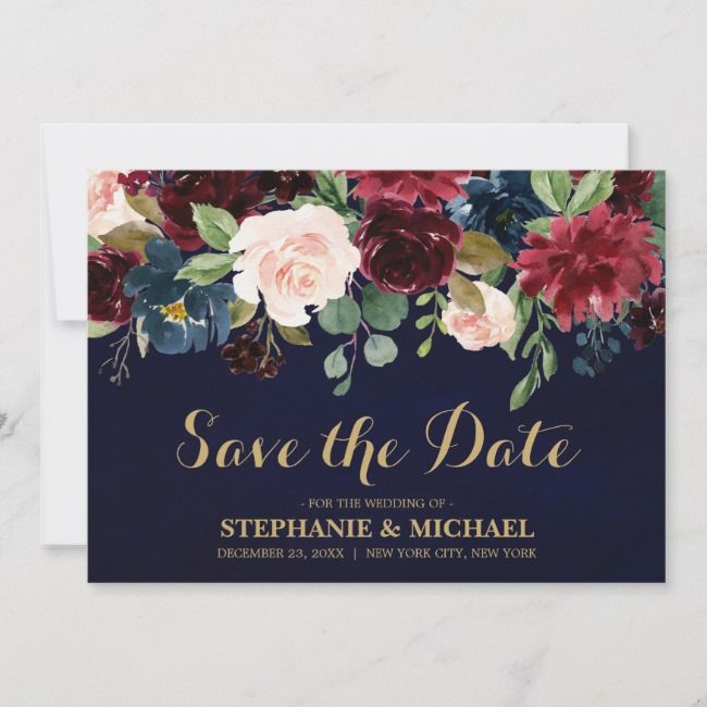 Burgundy Red Navy Floral Rustic Boho Save the date | Zazzle.com