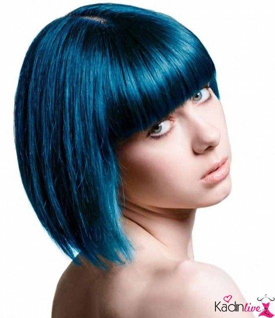 Mavi Siyah Sac Rengi Kisa Sac Modeli Semi Permanent Hair Dye