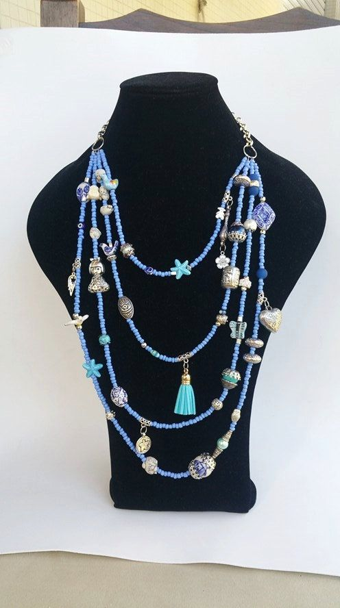 Statement Necklace  layering necklace  blue neckart by TresJoliePT