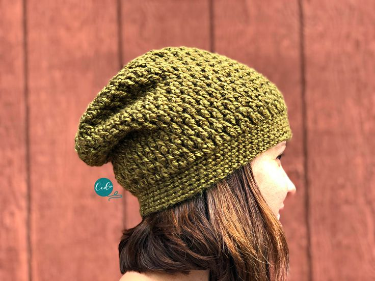 Textured slouchy hat free crochet pattern with photos. Great beginner pattern that includes all the stitch details. Works up in less than one ball of yarn!