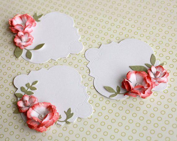 Handmade Rose Journaling Tag Embellishment for Cards or Scrabook Set of 3                                                                                                                                                     Más