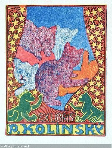 Bookplate by  Josef VÁCHAL for P. Kolínský, 'little cats' : ????