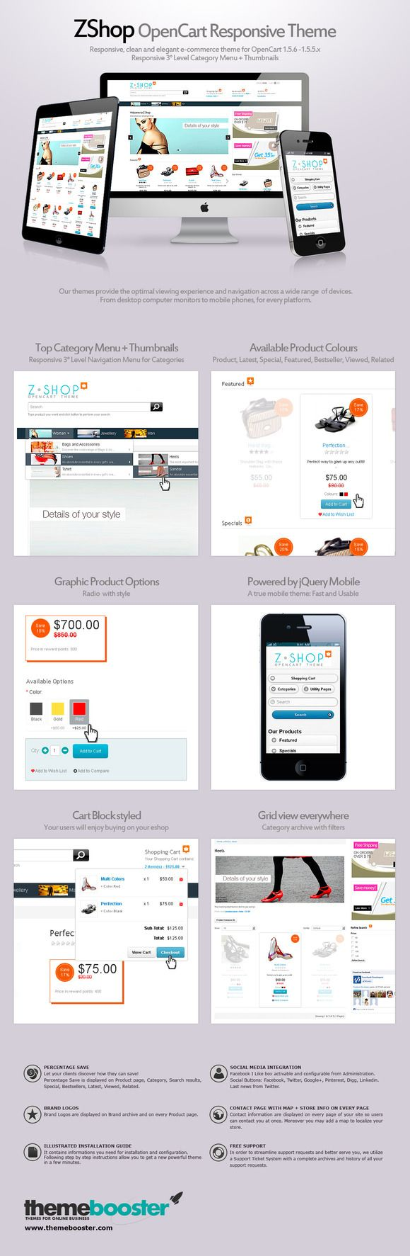 ZShop Responsive theme for OpenCart by ThemeBooster.com on Creative Market