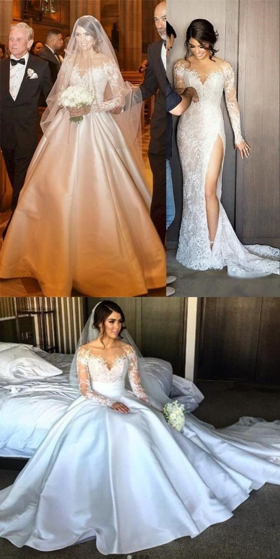 d87896a2c3 2018 Charming New Full Lace Split Wedding Dresses with Detachable Satin  Skirt