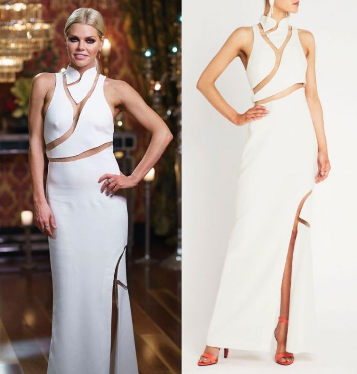 Sophie Monk wears this white high neck cut out split leg gown in this episode of The Bachelorette Australia on Wednesday the 11th of October 2017. It is the Sass & Bide Join Hands Maxi Dress.
