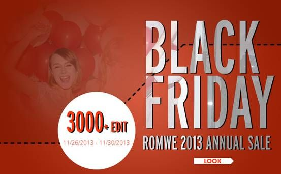 Romwe Black Friday Sale Up to 75% off, over 3000+ styles Biggest discount! Most styles ever! Date: 11/26/2013 -11/30/2013 Go: http://www.romwe.com/?alice