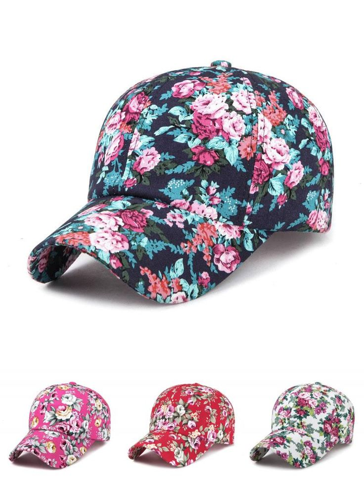 [Visit to Buy] Summer Adjustable Baseball Cap Women Lady Flowers  Embroidered Golf Hat Wholesale Baseball Hat  Style name brand hats #Advertisement