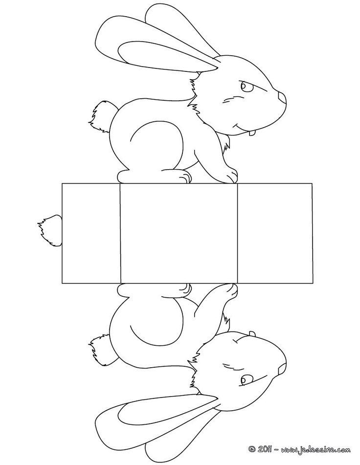 Boîte Pâque lapin à colorier et découper
