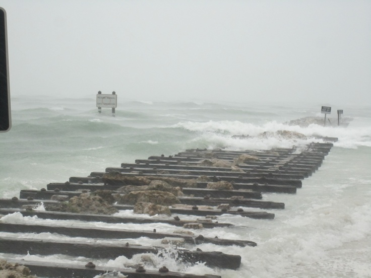 Coqina Beach at Long Boat Key Pass during tropical storm.
