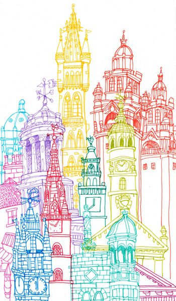 Glasgow Towers Art Print by Cheism - rainbow color architecture drawing …