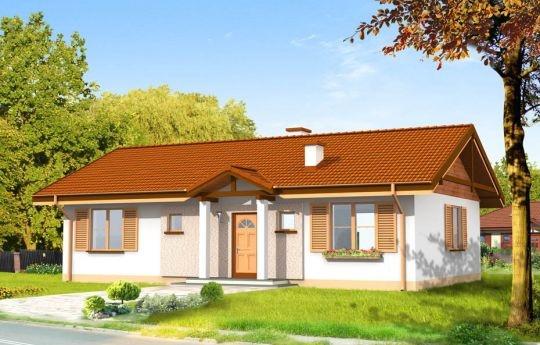 Projekt Słoneczny to parterowy dom jednorodzinny dla rodziny czteroosobowej. Budynek o prostej bryle, łatwy i niedrogi w budowie. Pokój dzienny połączony przestrzennie z holem, aneksem jadalnym i częściowo otwartą kuchnią tworzą duże jednoprzestrzenne, przestronne wnętrze. W projekcie Słoneczny sypialnie z łazienką i oddzielnym wc tworzą strefę nocną domu.