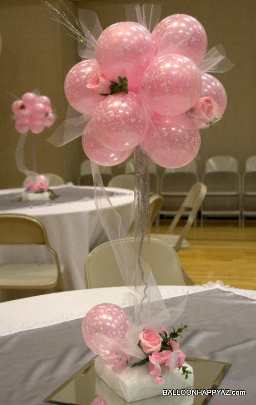 Wedding balloon centerpiece in pink topiary tulle bows