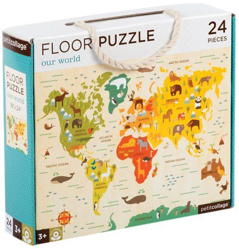 45 best gifts for raising global kids images on pinterest world map floor puzzle our world petit collage 24 piece full puzzles perfect for ages sciox Image collections